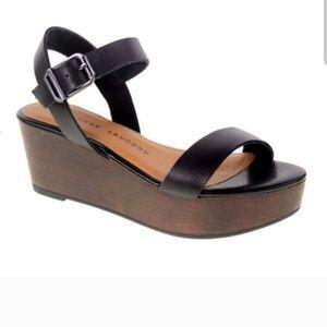 Black Strappy Platform Chunky Sandal Heel